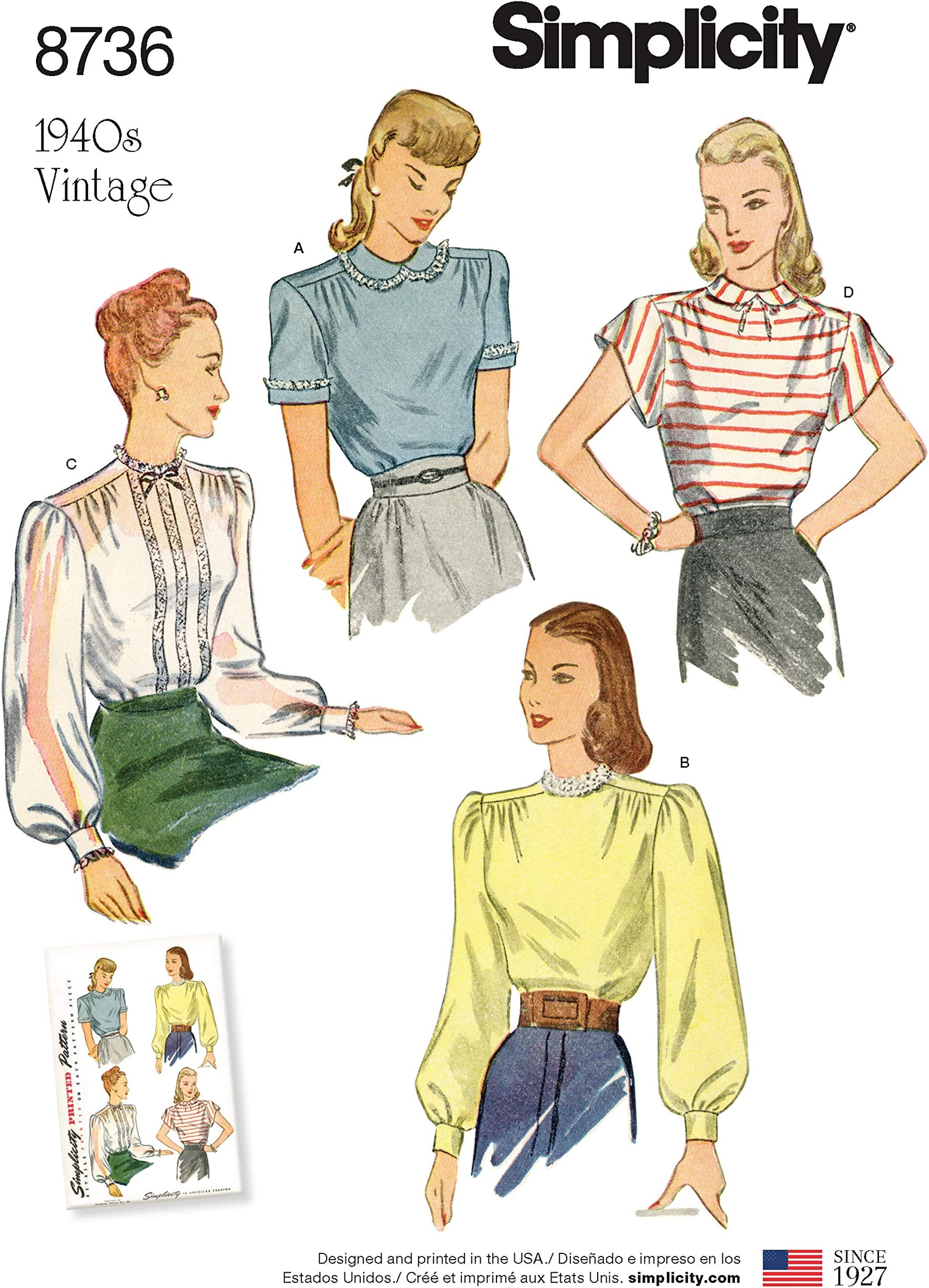 1940s Sewing Pattern Fitted Blouse Simplicity#1120 Vintage Bust 36 Illusion Lace Overblouse Keyhole Top