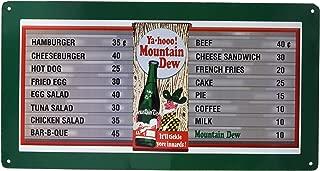 Mountain Dew Soda Menu Board Tin Sign 9 x 16in
