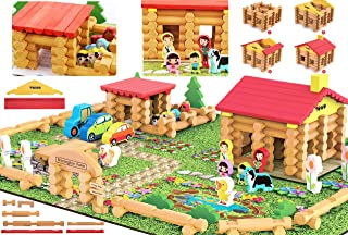TOWO Wooden Logs Toys Farm Playset- Wooden Logs Building Set Farm House Wooden Construction Toys 207 Pieces Animal Farm - Wooden Building Toys for 3 4 5 6 Year olds