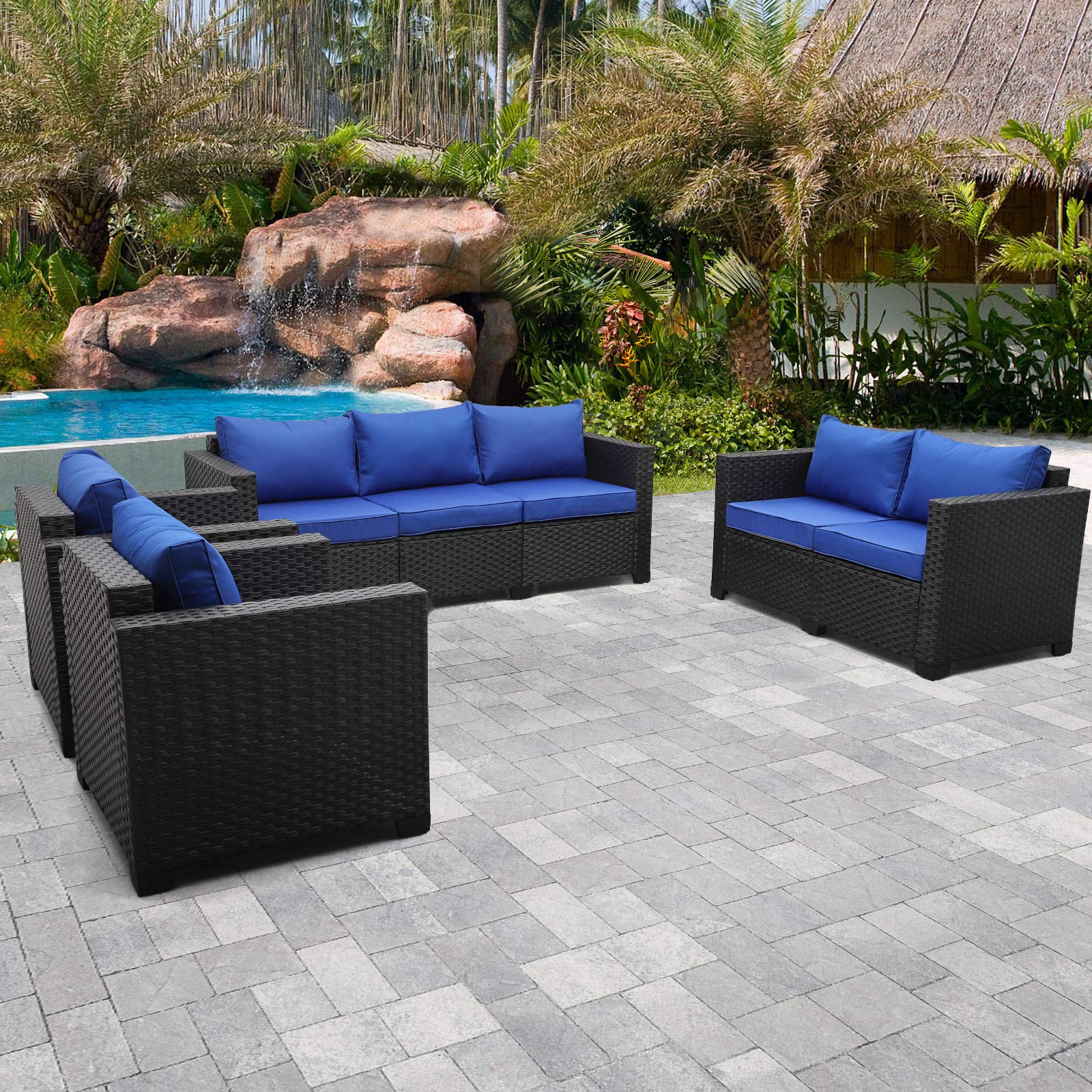 Rattaner Patio Furniture Sectional Sofa 4 Pieces, OutdoorWickerFurniture Couch Set with Cushions and Furniture Covers (R...