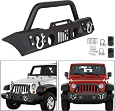 ECOTRIC Stubby Front Bumper With Fog Light Housing for 2007-2018 Jeep Wrangler JK