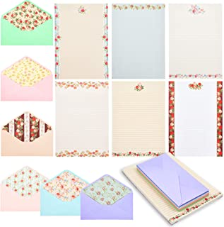 Vintage Floral Stationery Paper with Lined Envelopes (10.2 x 7.25 Inches, 60 Sheets)