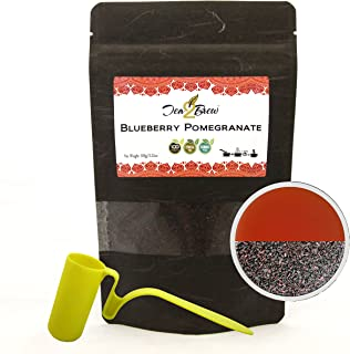 Tea2Brew | Artisanal Black Tea Collection | Blueberry Pomegranate | 100% Pure Ceylon Black Tea with Blueberry & Pomegranate Flavor | 100g Per Pouch | Makes approx 100 Cups | FREE STRAINER | Pack of 2