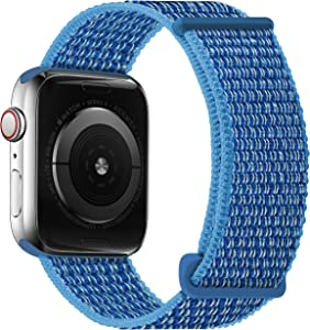 Oxwallen Nylon Velcro Comfortable Sport Loop Band Compatible with Apple Watch 7 41mm 38mm 40mm, Adjustable Braided Fabric Strap for Women Men fit iWatch SE & Series 7 6 5 4 3, Cape Cod Blue