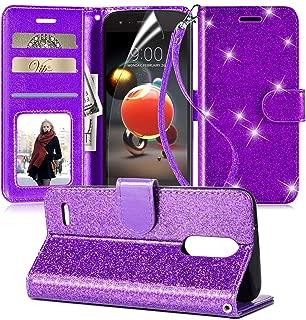 LG Aristo 2 Case,Aristo 3/Aristo 3 Plus/Tribute Dynasty/Fortune 2/Aristo 2 Plus/Phoenix 4/Tribute Empire/k8+/Zone 4/Rebel 4 w/Screen Protector,Leather Bling Glitter Case Wallet Cover for Girls,Purple