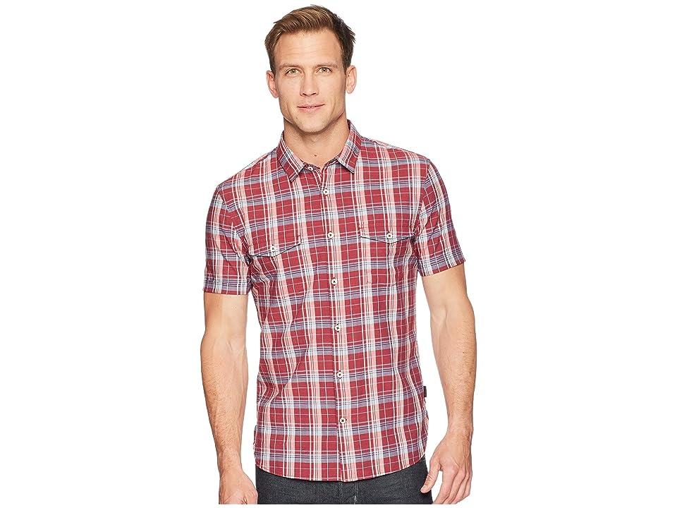 John Varvatos Star U.S.A. Short Sleeve Shirt with Chest Pockets W519U1B (Crimson) Men