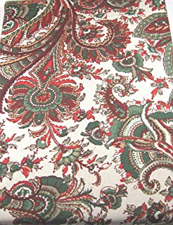 RALPH LAUREN Holiday Tablecloth Patmosan Paisley Holly 70 Round Multi Color 100% Cotton