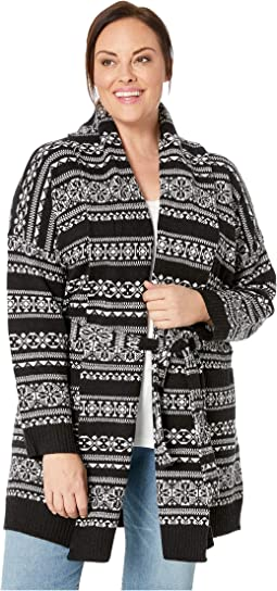 Plus Size Wool-Blend Belted Cardigan