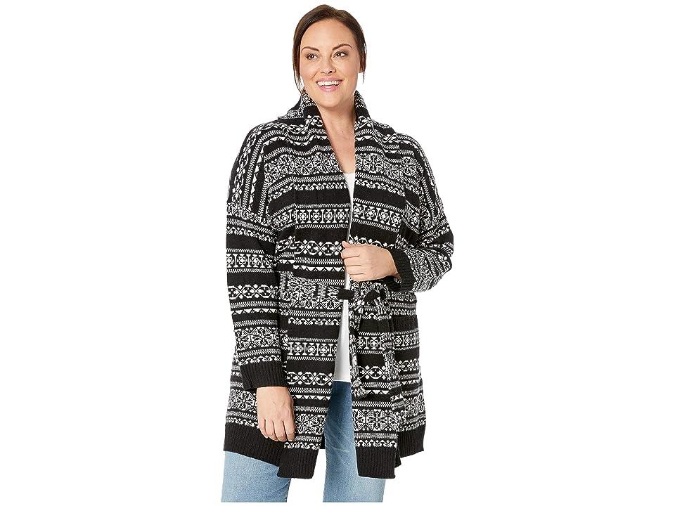 d1b1ffd56b LAUREN Ralph Lauren Plus Size Wool-Blend Belted Cardigan (Polo Black Masc  Cream Multi) Women s Sweater