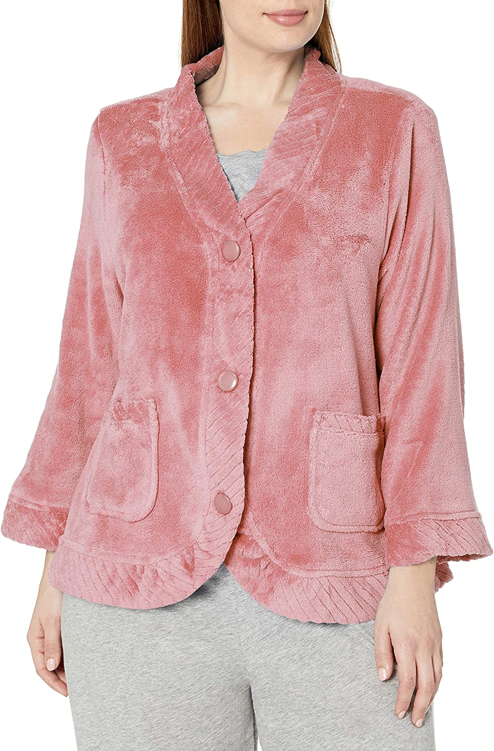 Casual Moments Women's Size Bed Jacket W/Velcro Openings Plus