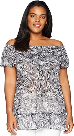 Plus Size Swirl Off Shoulder Gather Top