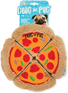 Outward Hound Doug The Pug Incrediplush Pizza Puzzle Squeaky Plush Dog Toy, Multicolor, Model:68244