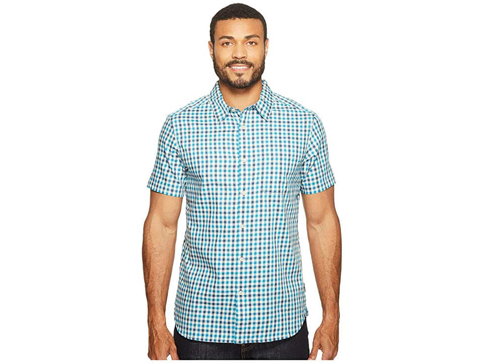 The North Face Short Sleeve Passport Shirt (Shady Blue Plaid (Prior Season)) Men