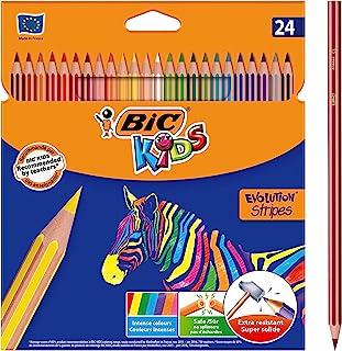 BIC Kids Evolution Stripes Kuru Boya Kalemi, 24'lü Kutu
