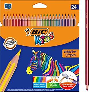 BIC Kids Evolution Lot de 24 crayons de couleur Motif rayures Couleurs assorties