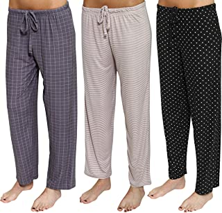 Real Essentials 3 Pack: Women's Ultra-Soft Fleece Comfy Stretch Pajama/Lounge Pants Elegant Sleepwear