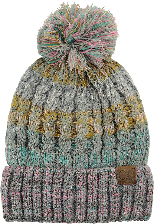 C.C Tribal Blend Pom Soft Fuzzy Lined Thick Knit Cuff Beanie Hat