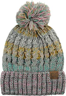6010d5615bc C.C Tribal Blend Pom Soft Fuzzy Lined Thick Knit Cuff Beanie Hat