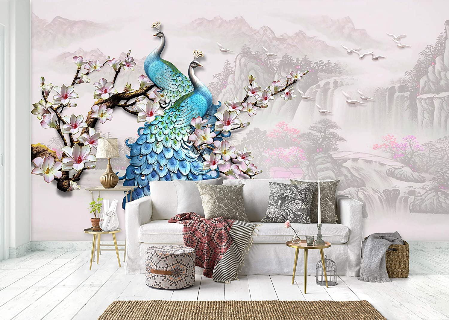 Max 54% OFF 3D Carved Flower Peacock 0256 Wall Print Max 64% OFF Deco Paper M Decal