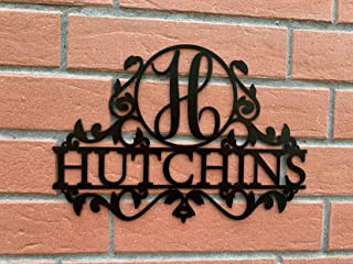Personalized Last Name Outdoor Metal Sign Custom Door Hanger Monogram Initial Wreath Letter Housewarming Gift Wall Decor Hanging Laser Cut Acrylic Wood Wedding Gift Anniversary Family Christmas Gift
