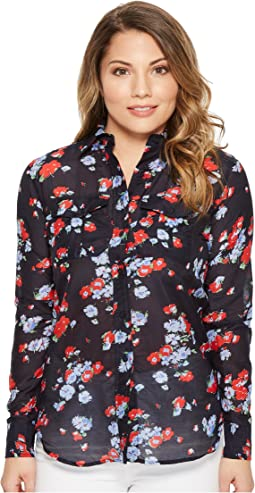 LAUREN Ralph Lauren - Petite Floral Crinkled Cotton Shirt