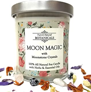 Moon Magic Pure & Natural Soy Candle 8.5 oz 100% All Natural & Non Toxic with Crystals, Lotus, Frankincense & Myrrh Oils and Herbs for Awareness Power Intuition Wisdom Wiccan Pagan Hoodoo Magick Spell