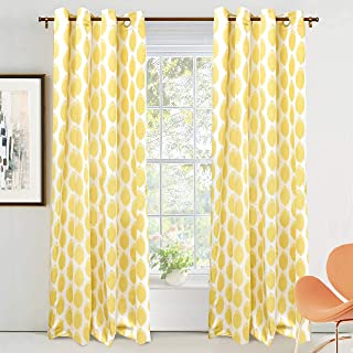 DriftAway Allen Ikat Polka Dot Room Darkening and Thermal Insulated Grommet Unlined Window Curtains Set of 2 Panels 52 Inch by 84 Inch Yellow