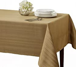"""Benson Mills Flow""""Spillproof"""" 60-Inch by 104-Inch Fabric Tablecloth, Taupe/Gold"""