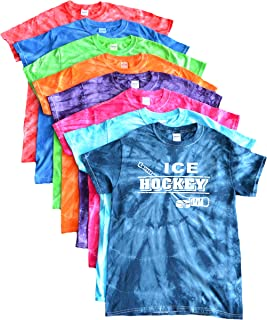JANT girl Ice Hockey Tie Dye T-Shirt Distressed Stick and Puck Logo