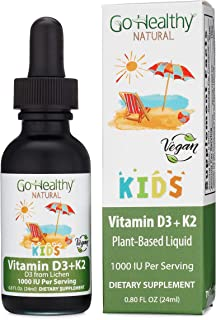 Go Healthy Natural Vitamin D3 + K2 Vegan Liquid Drops Kids, Toddler, Children - Black Glass 0.80 FL Oz. 30 Servings 1000IU...