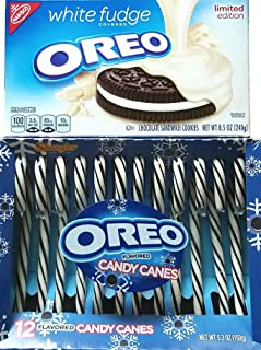 Limited Edition - White Fudge Covered Oreo Chocolate Sandwich Cookies, Oreo Flavored Candy Canes