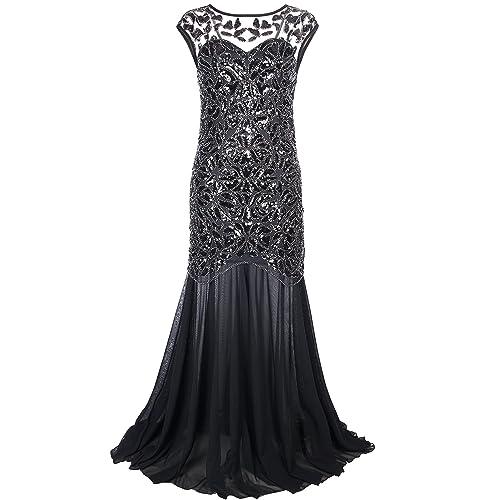 76546bfa2510 PrettyGuide Women  s 1920s Black Sequin Gatsby Maxi Long Evening Prom Dress