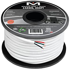 Mediabridge 14AWG 4-Conductor Speaker Wire (200 Feet, White) - 99.9% Oxygen Free Copper - ETL Listed & CL2 Rated for in-Wall Use (Part# SW-14X4-200-WH)