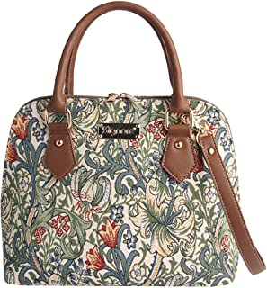 Signare Womens Fashion Canvas Tapestry Convertible Shoulder Handbag In Golden Lily Design