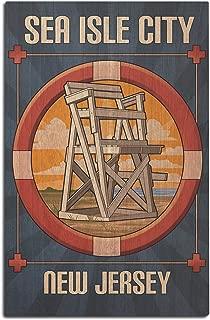 Lantern Press Sea Isle City, New Jersey - Lifeguard Chair (12x18 Wood Wall Sign, Wall Decor Ready to Hang)