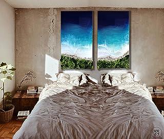 Arte de resina original de la temporada de verano del océano oscuro, playa, piedra real, naturaleza, personalización, arte...