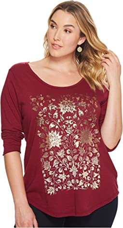 Lucky Brand - Plus Size Floral Foil Tee