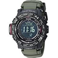 Casio Men's 'PRO TREK' Tough Solar Powered and Stainless Steel Watch, Color:Green (Model:...