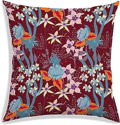 RADANYA Floral Print Satin Cushion Cover Square Throw Sofa Pillow Case Décor