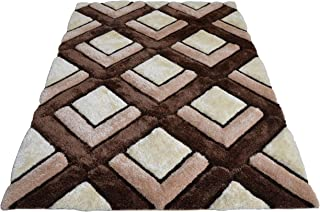 3D Contemporary Super Soft Polyester Fiber Area Shaggy Rugs for Living Room Bedroom Rug Mats Home Decor (2.5 x 3.5, Brown/Beige)