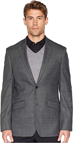 Slim Fit Washable Plaid Suit Jacket