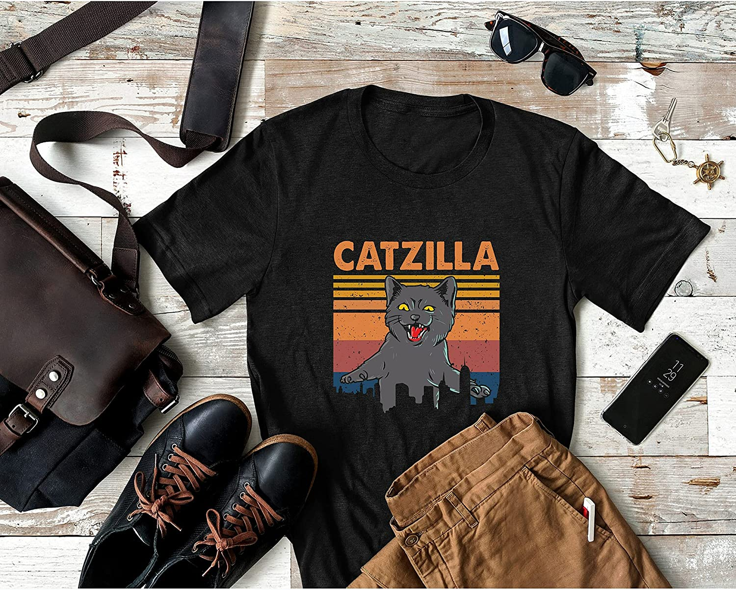 Vintage Retro At the price of surprise Catzilla Funny Black OFFicial store Halloween Personal Custom Cat
