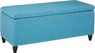Christopher Knight Home Living Dynasty Fabric Storage Ottoman (Teal), 18.25
