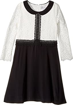 3/4 Sleeve Peter Pan Collar Fit And Flare (Big Kids)