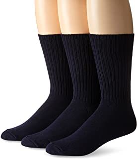 Calvin Klein Men's 3 Pack Cotton Rich Casual Rib Sock, Navy, Shoe Size 7-12