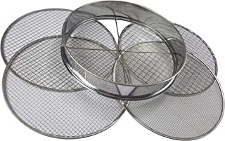 Practicool Garden Potting Mesh Sieve - Sifting Pan - Stainless Steel Riddle - Mix Soil Filter - with 4 Interchangeable Mesh Sizes - 3, 6, 9, 12mm