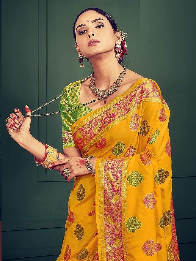 Saree en soie tiss/ée Sari pour femme Style instantan/é
