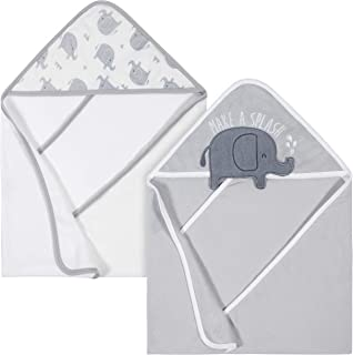 Gerber Baby Organic 2-Pack Hooded Towels, Elephant (Grey/White), One Size