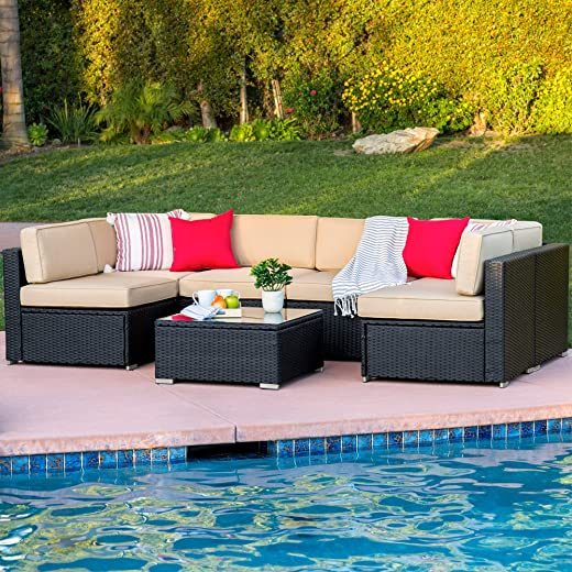 B00ZSDKVY4✅Best Choice Products 7-Piece Modular Outdoor Patio Rattan Wicker Sectional Conversation Sofa Set w/ 6 Chairs, Coffee Table, Weather-Resistant Cover, Seat Clips, Minimal Assembly Required – Black