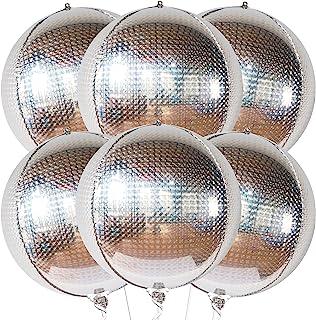 Big 6 Pieces 22 Inch Disco Ball Balloons - Metallic Silver Balloons   Silver Mylar Balloons , 360 Degree 4D Round Silver F...